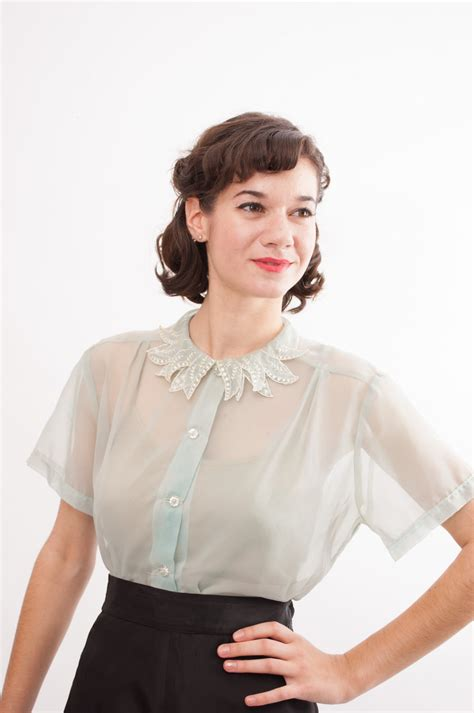 50s blouse vintage 50s blouse sheer blouse seafoam green