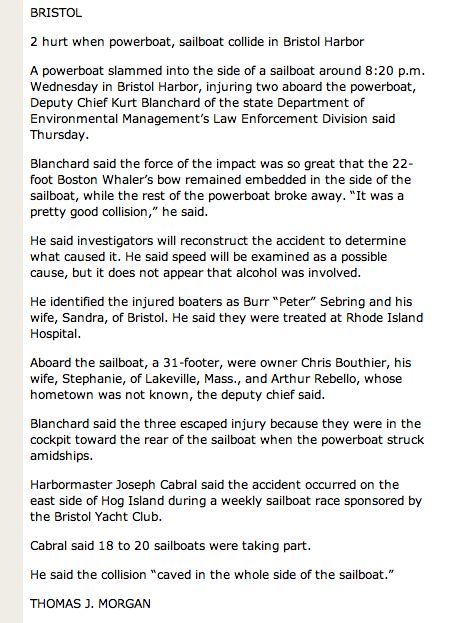 Boston Whaler Boating Accident by Pb Update Boat Accident In Bristol Harbor