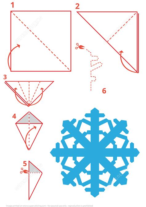 snowflake folding instructions  printable papercraft templates