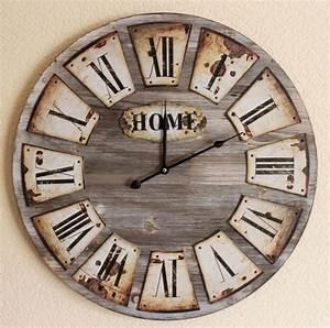 Große Uhr Wand : wanduhr home loft aus holz 84602 quarzuhr d 58cm uhr designuhr vintage shabby ebay ~ Indierocktalk.com Haus und Dekorationen