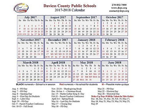 daviess county public schools school calendar