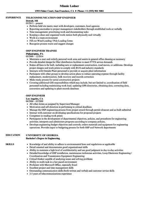 osp engineer resume samples velvet jobs
