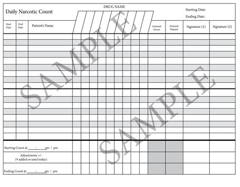 Printing And Using The Count Sheet Template. Medication