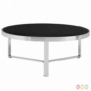 disk industrial glass top round coffee table w stainless With industrial glass top coffee table
