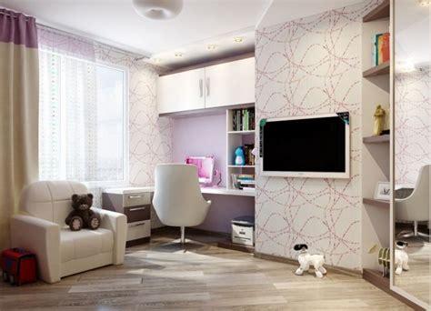 Wandgestaltung Jugendzimmer Mädchen Tapete Abstrakte Lila