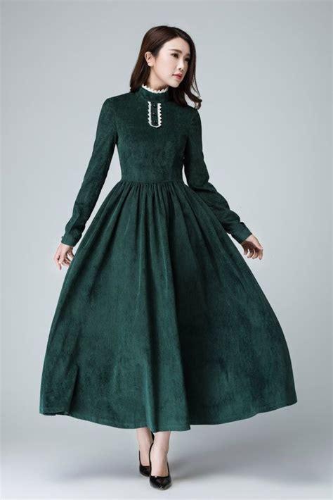 green dress corduroy dress maxi dress winter dress