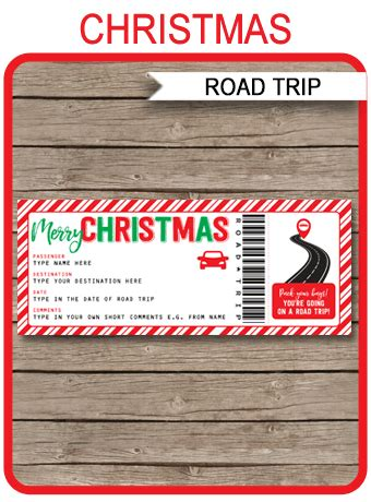 christmas road trip ticket template gift surprise road