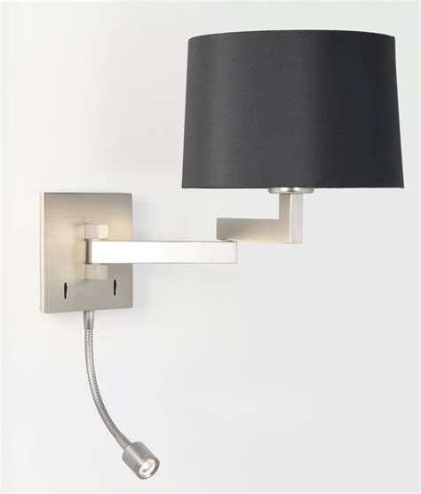 bedside wall light with built in led reading light in matt