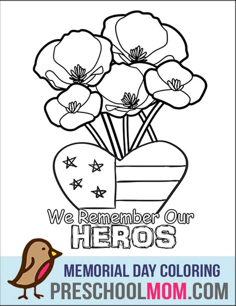 memorial day poppy coloring sheet coloring pages