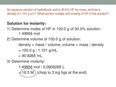 Solutions, Molarity, Molality
