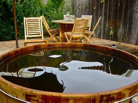 redwood soaking tub redwood tub in santa barbara backyard http www