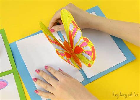 diy butterfly pop  card   template easy peasy  fun