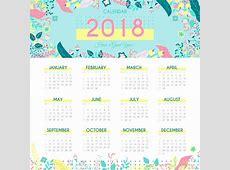 Nature 2018 calendar template Vector Free Download