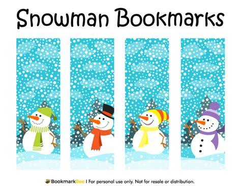 christmas template mark printable snowman bookmarks