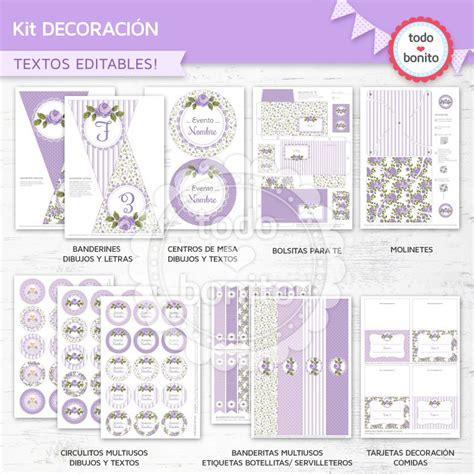 kit imprimible shabby chic en lila todo bonito