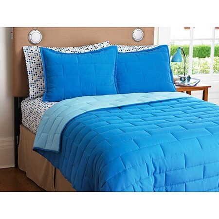 your zone reversible comforter and sham set cobalt light blue walmart - Cobalt Blue Comforter Set
