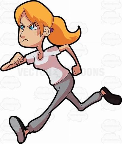 Running Cartoon Clipart Woman Runner Run Jogger