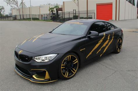 Black And Gold Cars by Beast Bmw M4 In Satin Black And Gold Chrome