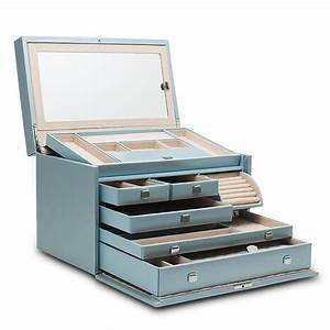 Wolf 1834 London Large Ice Blue Leather Jewellery Box 315024