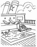 Coloring Pool Pages Ship Deck Sheet Swimming Summer Cruise Printable Smoke Getcolorings Disney sketch template