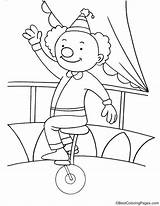 Unicycle Coloring Clown Riding Drawing Getdrawings sketch template