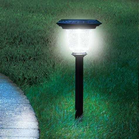 solar sconces the best solar walkway light hammacher schlemmer