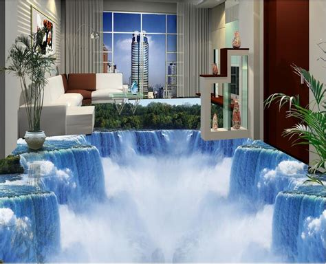 epoxy flooring kolkata 3d flooring wallpaper custom photo self adhesion material 3 d mountain forest waterfall painting
