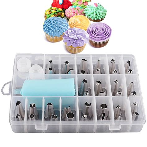 pieces icing piping nozzle tool set box cake cupcake