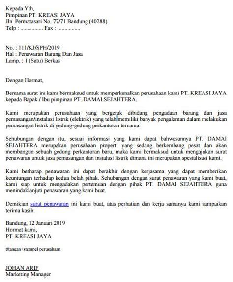 contoh surat penawaran barang  jasa perusahaan