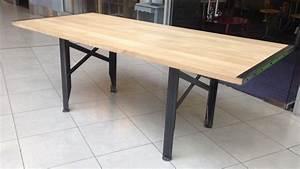 Table Bois Massif Metal : table a rallonges design loft metal et bois ~ Teatrodelosmanantiales.com Idées de Décoration