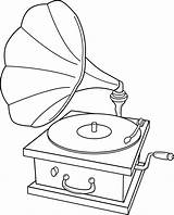 Record Player Drawing Clip Coloring Clipart Gramophone Pages Cartoon Lineart Colouring Phonograph Getdrawings Sweetclipart Line Drawings Library Dumpty Humpty Basketball sketch template
