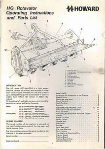 Howard Rotavator Hg 40 50 60 80 Operators Manual With