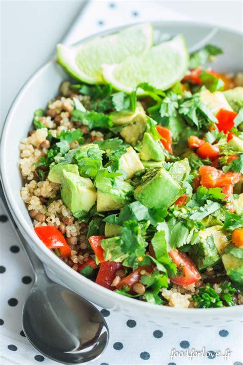 lentille cuisine salade de quinoa lentilles et avocat food for