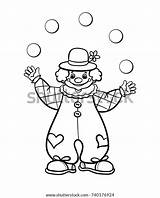 Juggler Vector Coloring Clown Outline Illustration Circus sketch template
