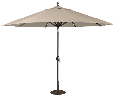 11 auto tilt patio umbrella with led lights black
