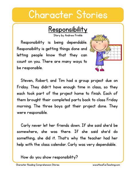 reading comprehension worksheet responsability