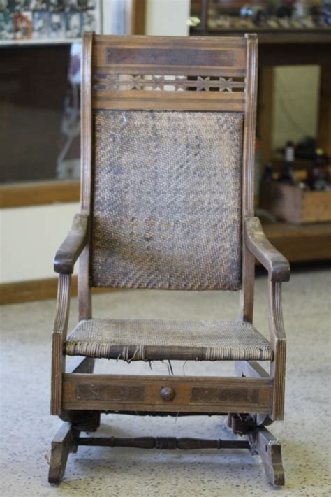 antique wicker and wood rocking chair