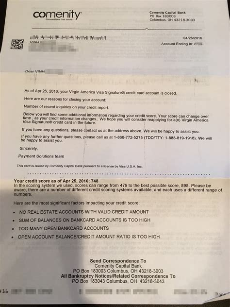 Closing a credit card account. My Comenity Bank shutdown letter   Miles per Day