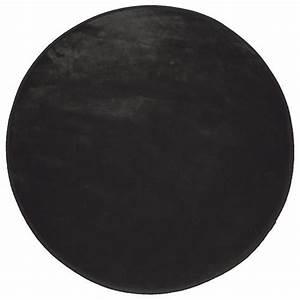 tapis rond velours uni noir tapis de chambre eminza With tapis rond noir