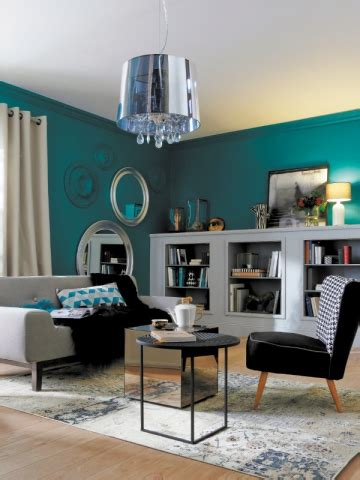 peinture chambre bleu turquoise déco salon bleu canard