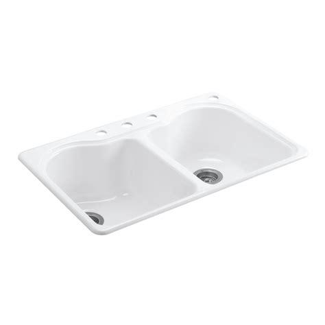 hole in sink basin shop kohler hartland 22 in x 33 in white double basin cast