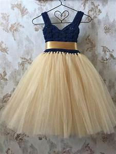 navy and gold empire flower girl tutu dress crochet With tutu wedding dress
