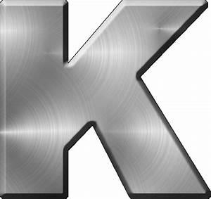 presentation alphabets brushed metal letter k With brushed metal letters