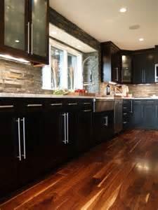 stone backsplash espresso cabinets apron sink house