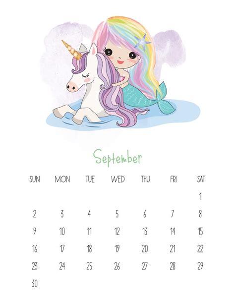 printable kawaii mermaid calendar cottage market