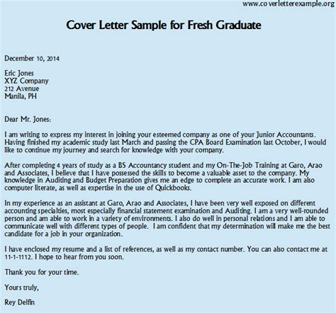 cover letter sle for application fresh graduate ideas