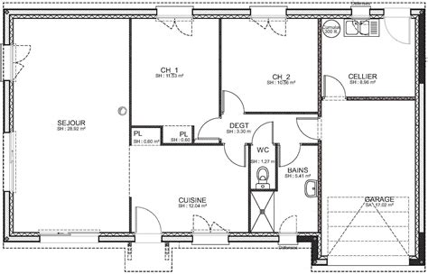plan maison 3 chambres 1 bureau plan maison plain pied 3 chambres 1 bureau cool plan