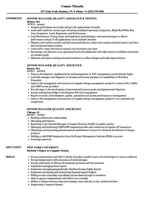 senior manager quality assurance resume sles velvet