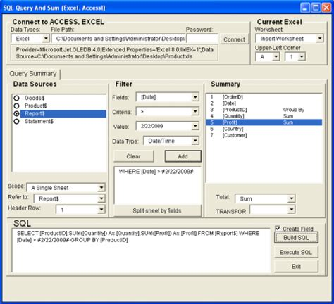 excel tool sql query