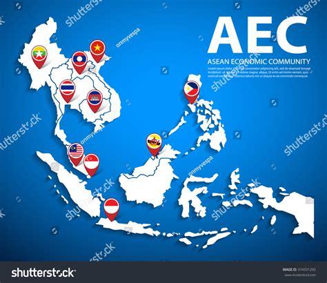 asean economic community aec map aec asean economic community map flag vectores en stock asea